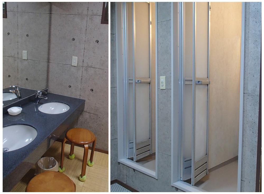 高松ローンテニススクールのシャワーとロッカールーム